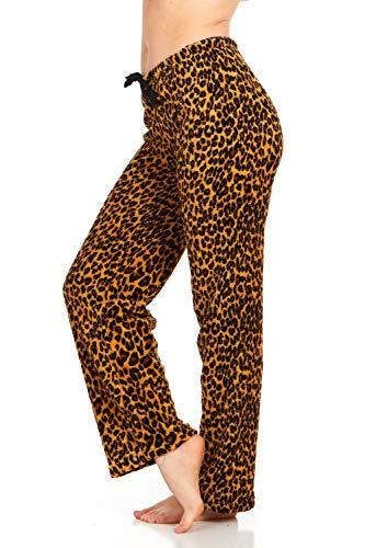 Women's Super-Soft Plush Fleece Pajama Bottoms/Lounge Pants, Brown Lepord - - Animal Print Plush