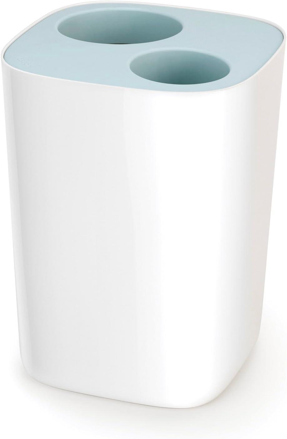 Joseph Joseph Split Trash Can Recycle Bin Dual Compartments Removable Bucket, 2 gallon/8 liter, Blue