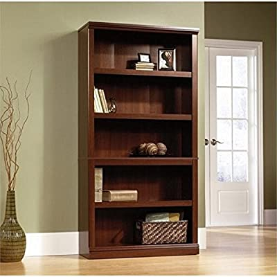 Sauder 5 Shelf Bookcase, Select Cherry finish - Finish:Select Cherry Three adjustable shelves. Quick and easy assembly with patented slide-on moldings.. - living-room-furniture, living-room, bookcases-bookshelves - 51bJFkghFmL. SS400  -