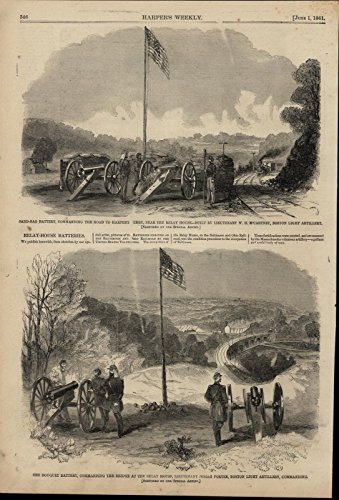 - Bouquet Sandbag Batteries Cannon Flags Bridge 1861 great old print for display