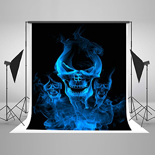 5x7ft (150x220cm) Scared Halloween Backdrops Photography Blue Wildfire Ghost Photo Studio Backgrounds for Children -
