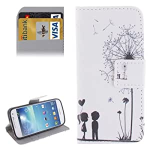 Dandelion Couple Pattern Leather Funda con Holder Case Cover & & Wallet bolsillos internos para Samsung Galaxy S4 Mini i9190