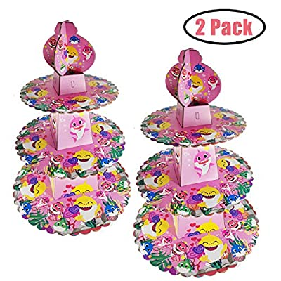 2 PCS Baby Shark Cake Stand Party Supplies, 3 Tier Baby Shark Cardboard Cupcake Stand, Dessert Cupcake Holder for Kids Birthday Party, Gender Reveal Party, Baby Shower, Shark Themed Party(Pink): Kitchen & Dining