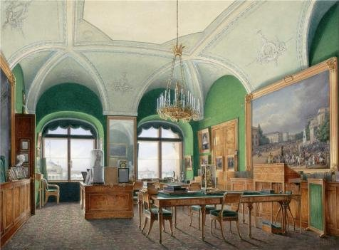 Oil Painting 'Hau Edward Petrovich,Interiors Of The Winter Palace,The Large Study Of Emperor Nicholas I,1807-1887' 20 x 27 inch / 51 x 69 cm , on High Definition HD canvas - Shopping Centre Whitfords