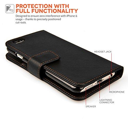 Yousave Accessories iPhone 6 Tasche Schwarz PU Leder Brieftasche Hülle Mit Mini Griffel Stift