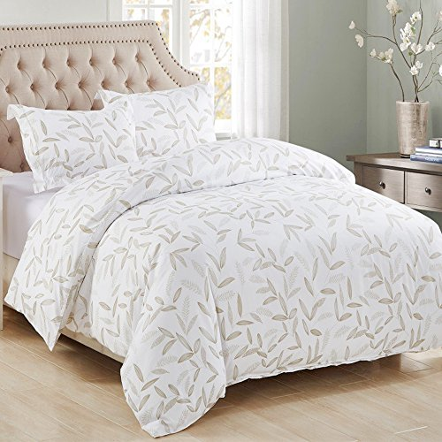 3 Piece Duvet Cover and Pillow Shams Bedding Set, Soft Microfiber Printed Leaf Design (Leaf Queen Duvet)