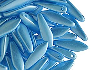 25pcs cuentas de cristal Checa daga 5x 16mm, alabastro Pastel azul turquesa