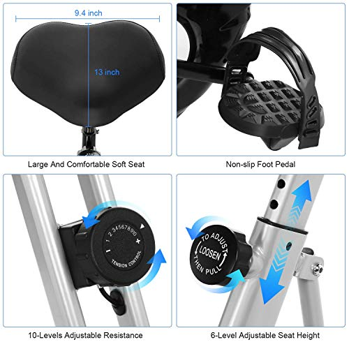 ANCHEER Folding Magnetic Exercise Bike, 10-Level Adjustable Stationary Bike - Tablet Stand & Large and Comfortable Seat by ANCHEER (Image #3)