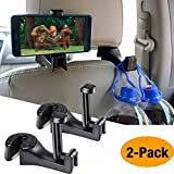Car Hooks Car Seat Back Hooks with Phone Holder,OCUBE(2 Pack) Universal Vehicle Car Headrest Hooks Hanger with Lock and Phone Bracket for Holding Phones and Hanging Bag, Purse, Cloth, Grocery-Black …