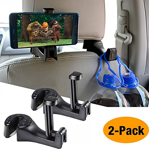 (Car Hooks Car Seat Back Hooks with Phone Holder,OCUBE(2 Pack) Universal Vehicle Car Headrest Hooks Hanger with Lock and Phone Bracket for Holding Phones and Hanging Bag, Purse, Cloth, Grocery-Black …)