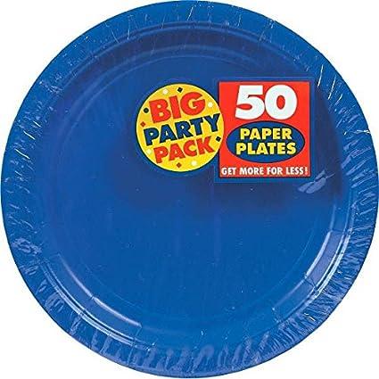 Big Party Pack Paper Dinner Plates 9-Inch 50/Pkg Bright Royal  sc 1 st  Amazon.com & Amazon.com: Big Party Pack Paper Dinner Plates 9-Inch 50/Pkg ...