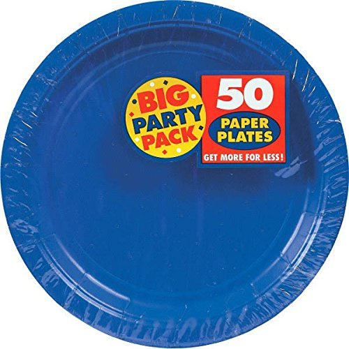 Bright Dinner (Big Party Pack Paper Dinner Plates 9-Inch, 50/Pkg, Bright Royal Blue)