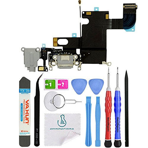OmniRepairs USB Charging Dock Port Flex Cable with Microphone and Headphone Audio Jack Replacement Compatible for iPhone 6 Model (A1549, A1586, A1589) with Repair Toolkit (Gray)