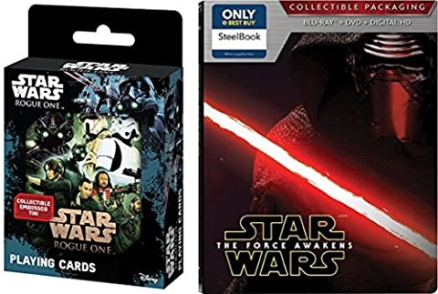 Star Wars Steelbook The Force Awakens Exclusive set with Playing Cards Tin collectible Movie (Star Wars Widescreen Trilogy)