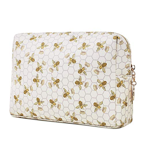 Luxury Makeup Bag for Purse Large Women Cosmetic Bags for Toiletry Travel (White 1)