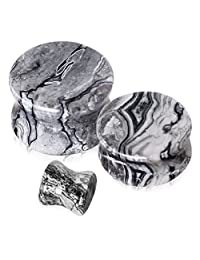 Pair of Black and White Wave Jasper Saddle Plug Double Flare Ear Lobe Plugs