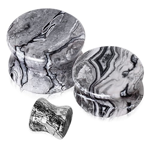 Black And White Stone (Pair of Black and White Wave Jasper Saddle Plug Double Flare Ear Lobe Plugs (0 Gauge(8mm)))