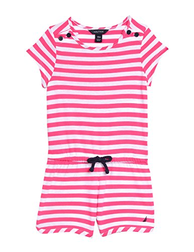 Nautica Baby Girls' Stripe Romper With Rope Detail, Medium Pink, 12M