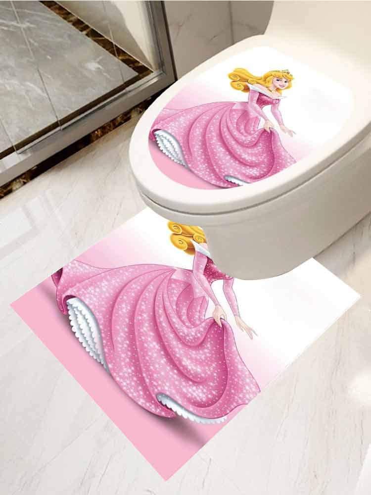 Modern Toilet Sticker Design Disney Princess Aurora Apartment Home Bathroom Decoration Set of 2 by AuraiseHome