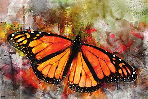 Beautiful Monarch Butterfly Watercolor Painting Modern Art Print Home Decor Poster 24x36