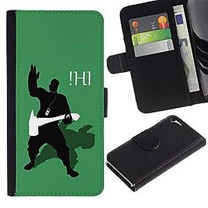 A-type (Divertido Ihi) Colorida Impresión Funda Cuero Monedero Caja Bolsa Cubierta Caja Piel Card Slots Para Apple iPhone 5 / iPhone 5S