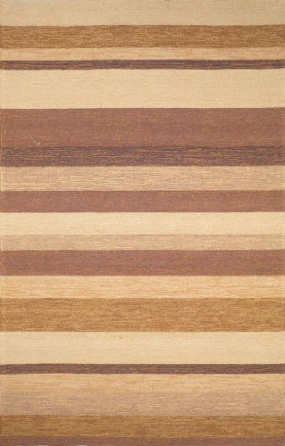 Durable Hand Tufted Area Rug Stripe 8' Square Sand Carpet