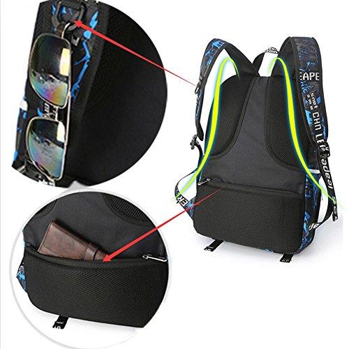 """Schule Sport Laptop Rucksäcke 15,6"""" Yogaw Buchtasche kann Basketball mit einem USB-Ladeanschluss wasserdicht blau halten"""