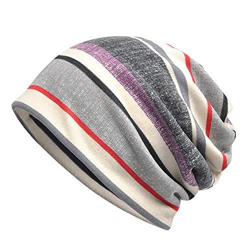- Fedi Apparel Women Men Winter Warm Hat Stripe Print Baggy Beanie Knit Hat Collar Scarf
