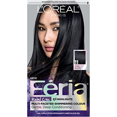L'Oréal Paris Feria Multi-Faceted Shimmering Permanent Hair Color, 11 Black Fixation (Cool Black), 1 kit Hair Dye