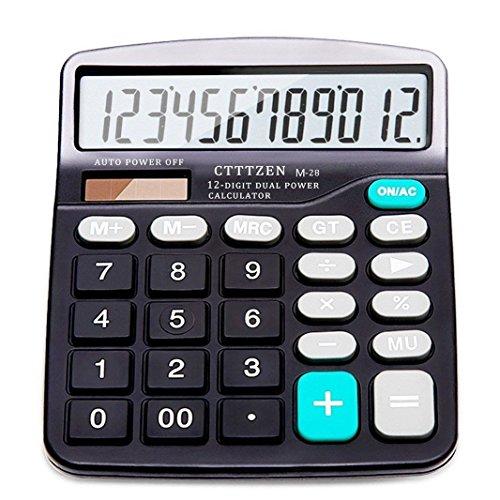 New M-28 Best Basic Office Calculator Standard Function Desktop 12 Digit Dual Power Solar and 1 AA Battery Included