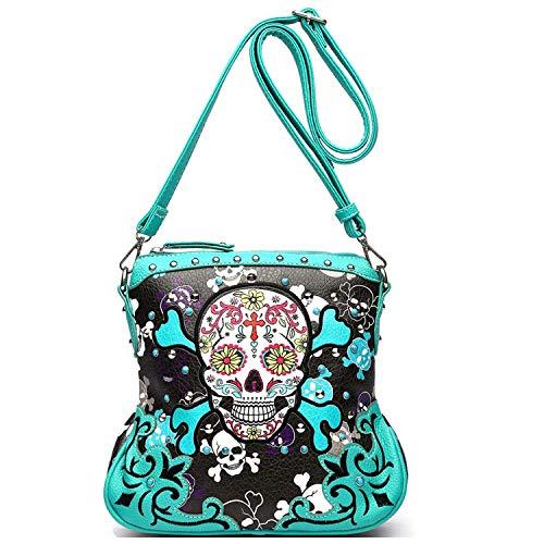 Sugar Skull Day of the Dead Cross Bone Concealed Carry Purse Women Cross Body Handbag Shoulder Bag (Teal Crossbody - Skull No Bones