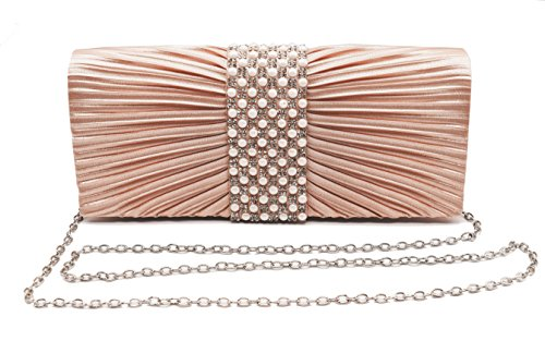 Womens Satin Clutch with Pearl and Diamond Evening Handbag for Party Cocktail Wedding Purse Wallet Bag (ROSE GOLD) -
