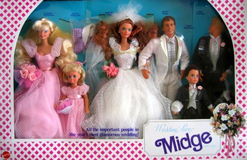 (Barbie Wedding Party MIDGE Gift Set w 6 Dolls: Barbie, Ken, Midge, Allen, Kelly & Todd (1990))