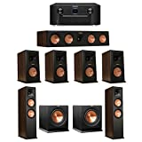Klipsch 7.2 Walnut System with 2 RP-280F Tower Speakers, 1 RP-450C Center Speaker, 4 Klipsch RP-160M Bookshelf Speakers, 2 Klipsch R-110SW Subwoofer, 1 Marantz SR7011 A/V Receiver