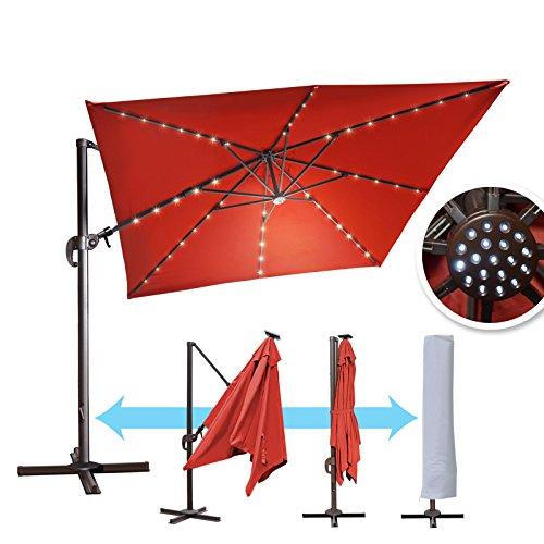 BenefitUSA 10'x10′ Hanging Offset Roma Umbrella LED Outdoor Umbrella 360 Rotation Patio Sunshade Cantilever Crank with Protect Cover (Burgundy)
