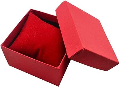 Collecsound - Caja cuadrada de cartón para guardar el reloj o la pulsera, para usar como joyero o caja para regalos, con almohadilla, Rojo, talla única: Amazon.es: Hogar