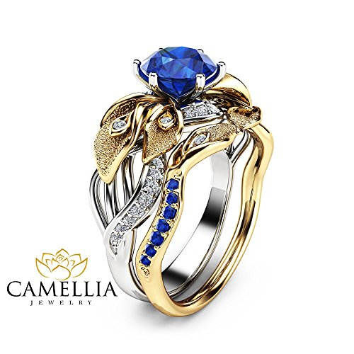 Sapphire 14k Two Gold Tone (Sapphire Calla Lily Engagement Ring Set 14K 2 Tone Gold Rings Nature Inspired Ring with Matching Band)