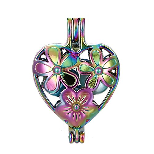 10pcs Colored Flower Pearl Beads Cage Locket Pendant-Add Your Own Pearls, Stones, Crystals, Gems to Cage, Add Perfume Or Essential Oil to Create a Scent Diffusing Locket Pendant Charms (Flower Heart) ()