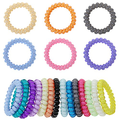 Mokale 20PCS Hair Ties Ponytail Holders - Large Boutique Girls Stretchy Elastic Hair Ropes Bands Styling Accessories for Women and (Black Long Wig With Two Braids)