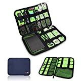 BUBM Universal Cable Organizer Electronics Accessories Case Various USB, Phone, Charge, Cable organizer Travel Organizer--Large (Dark blue)