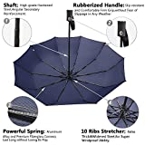 Bodyguard-Newest-10-Ribs-Travel-Umbrella-Golf-Umbrella-Best-Compact-Auto-Open-Close-210T-Finest-Reinforced-Windproof-UmbrellaFoldable-Portable-Ultra-Comfort-Handle-Gift-BoxBlue