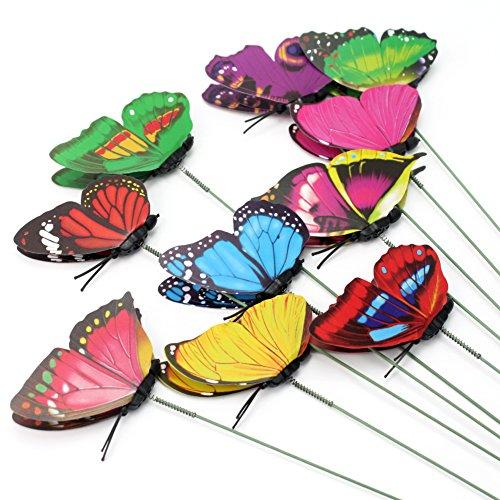 Pinzhi 10 x Doble Capa Mariposas en Palitos Resorte Jardín Césped Planta Maceta Décor: Amazon.es: Hogar