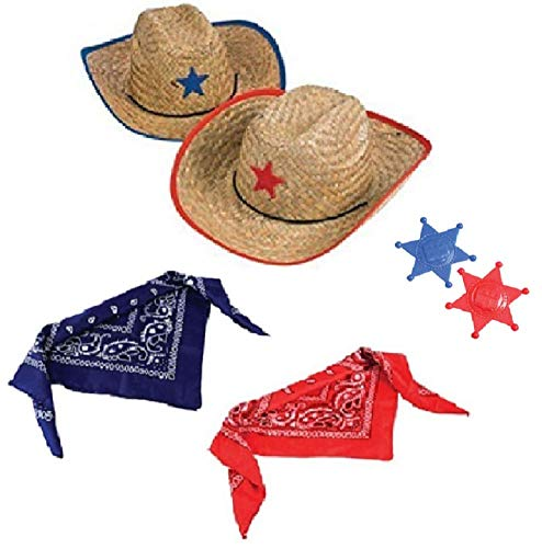 Novelty Treasures Costume Play Set Child Western Cowboy Hat, Plastic Sheriff Badge, and Matching Bandana Scarf (2 Sets) -