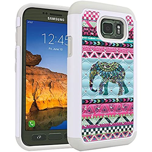 Samsung Galaxy S7 Active G891 Case, Fincibo (TM) Dual Layer Shock Proof Hybrid Hard Protector Cover anti-drop Silicone Star Studded Rhinestone Bling, Blue Sales