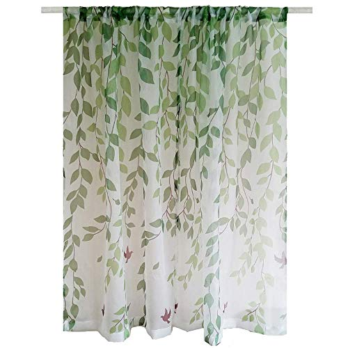 AiFish Print Sheer Curtain 96 Inches Long Kids Panel Green Tree Leaves Design Window Tulle Voile Gauze Door Curtain Birds Drape Panel Sheers for Living Room Rod Pocket Extra Wide 1 Panel ()