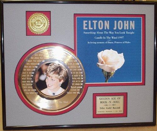 Elton John Tribute To Princess Diana Framed 24Kt Gold Record Etched W/Lyrics To