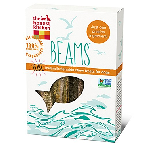 Honest Kitchen The Beams Grain Free Dog Chew Treats - Natural Human Grade Dehydrated Fish Skins, 4 oz Small
