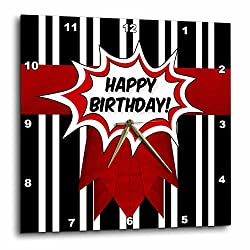 3dRose Doreen Erhardt Birthday Collection - Bold Vertical Black and White Stripes with Red Comic Happy Birthday - 15x15 Wall Clock (dpp_261483_3)