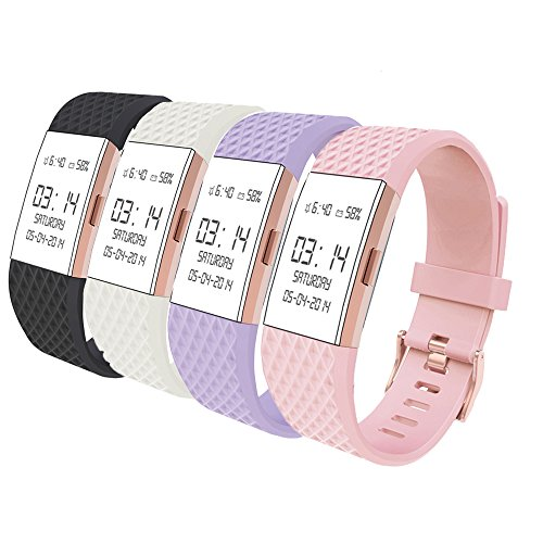 Wearlizer Compatible Fitbit Charge 2 Bands Accessories Silicone Straps Replacement Fitbit Charge 2 Special Edition Lavender Rose Gold Fit bit Charge 2