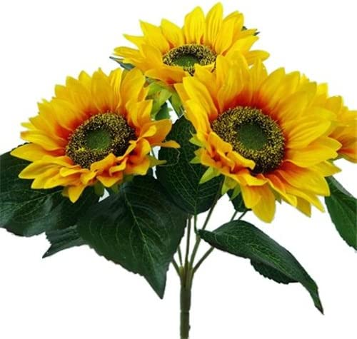 Gorgeous Artificial Silk Sunflower Bush With Leaves And 14 Heads Flower Bouquet